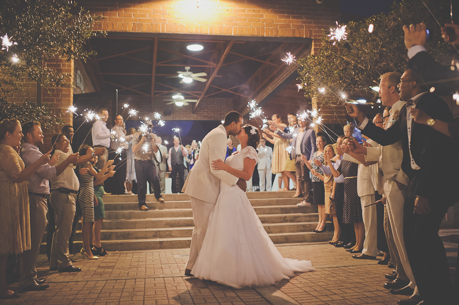 sunglow photography, winter park wedding sparkler exit at the farmers market