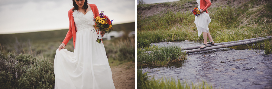 bride crossing a creek