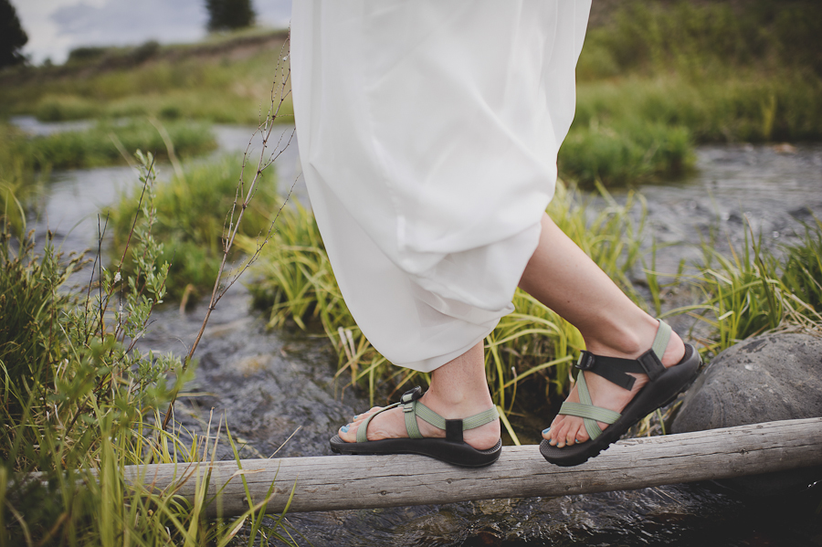 wedding, bride wearing chacos