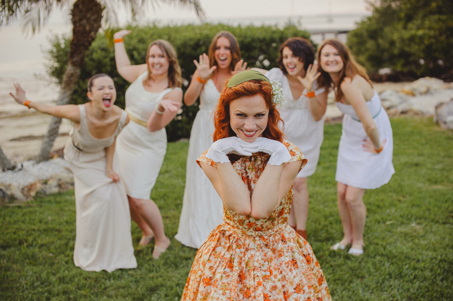 bride, vintage dress, orange