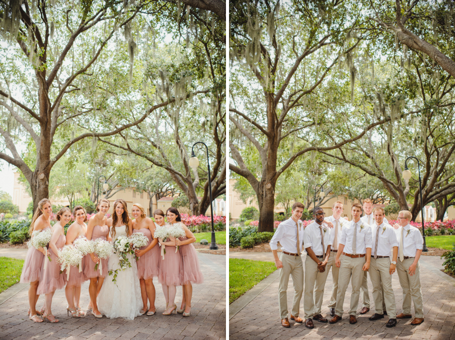 pink and tan wedding party