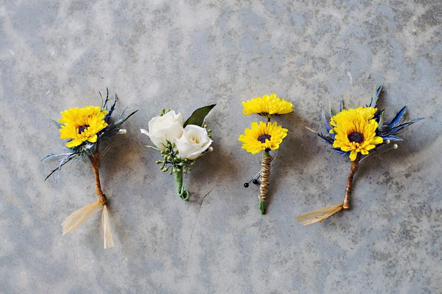 mini sunflower boutonniere