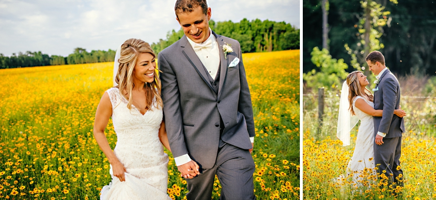 Wedding in a field of Florida wild flowers