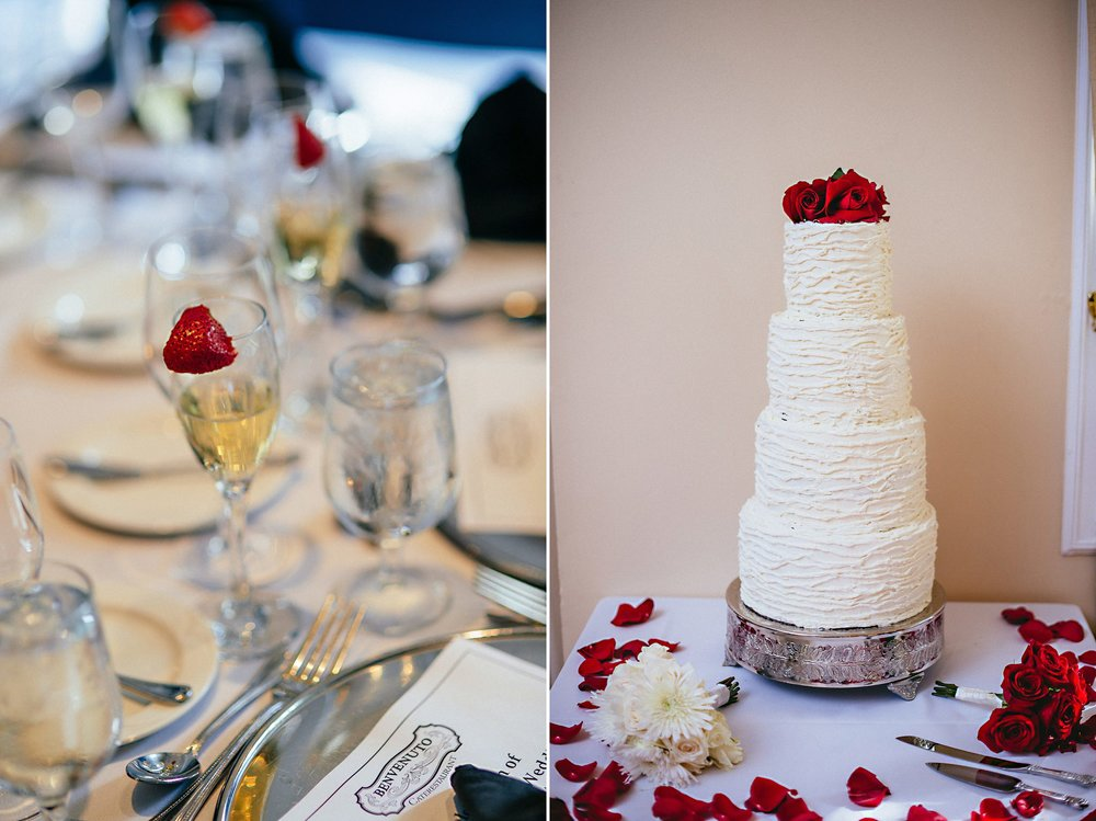 four tier wedding cake with strawberries
