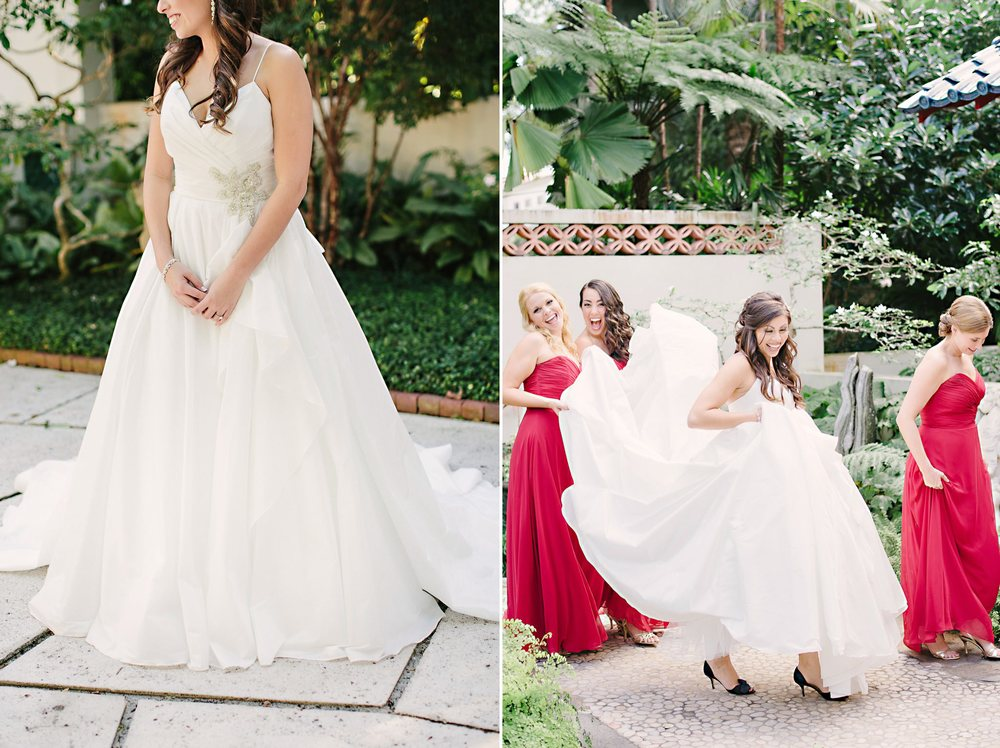 Stefan Jolie wedding dress Princess, full, tafetta gown with Kate Spade navy shoes