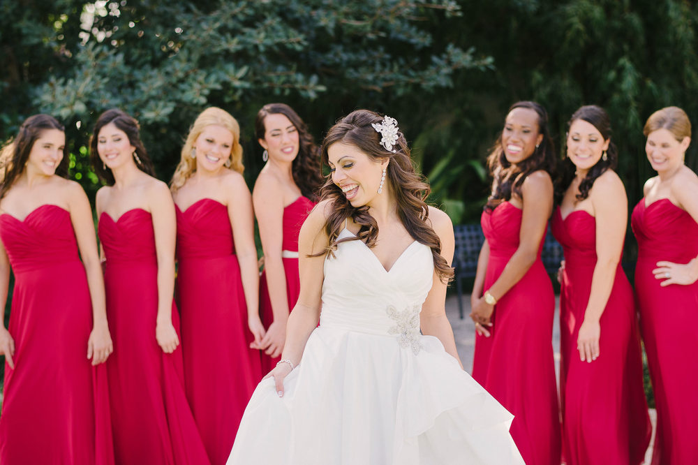 bridesmaid long cranberry chiffon dress with gold shoes
