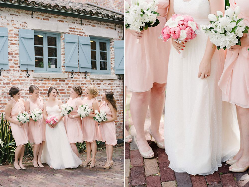 Peach Bridesmaids Dressed