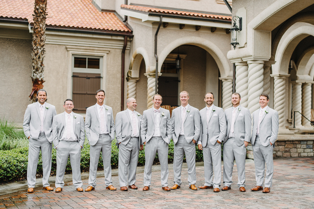 Groomsmen Light Grey Suit and Pink Tie