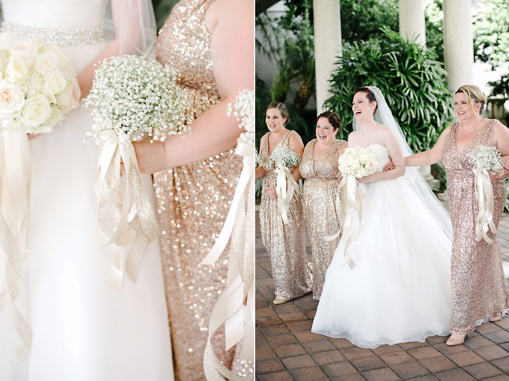 bridesmaidss in floor length rose gold sequin dresses