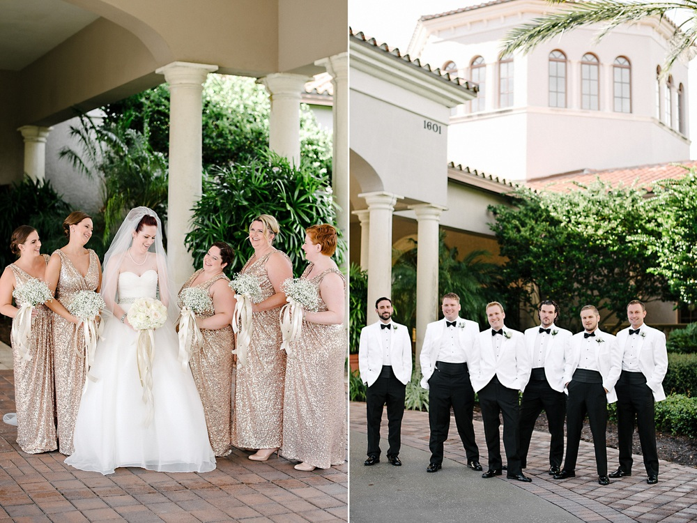 bridesmaidss in floor length rose gold sequin dresses and groomsmen in white dinner jackets