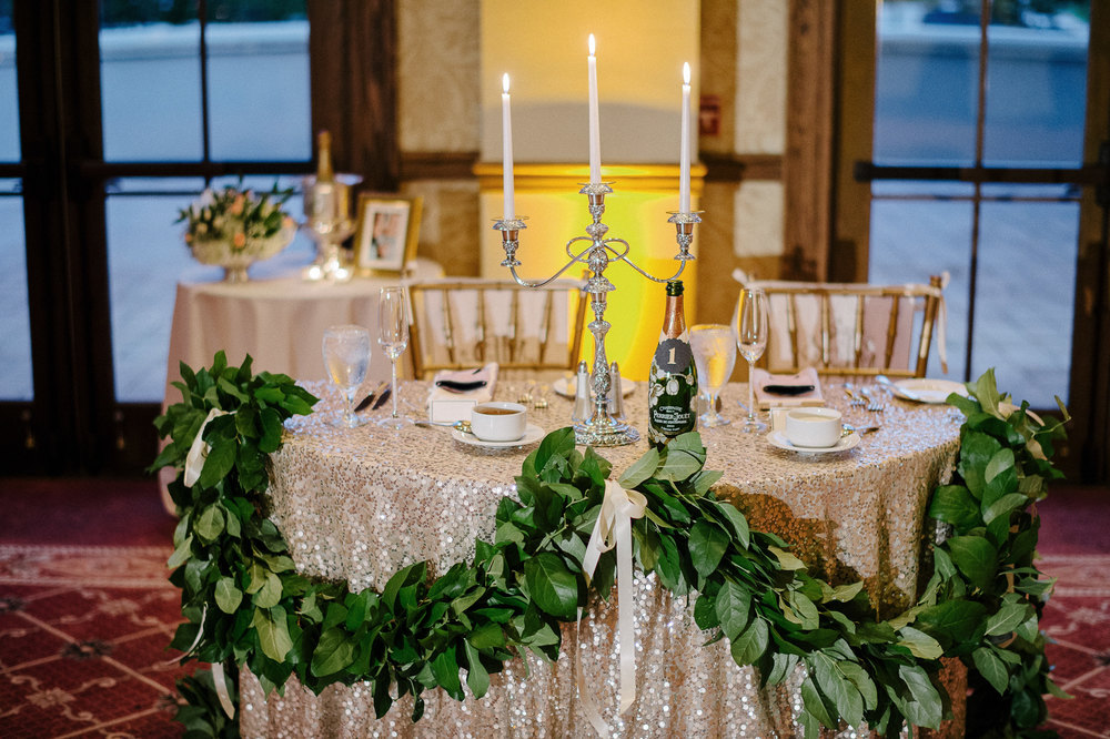 Elegant Rose Gold, Gold, and Silver Wedding Reception by I Do Details in Orlando Florida
