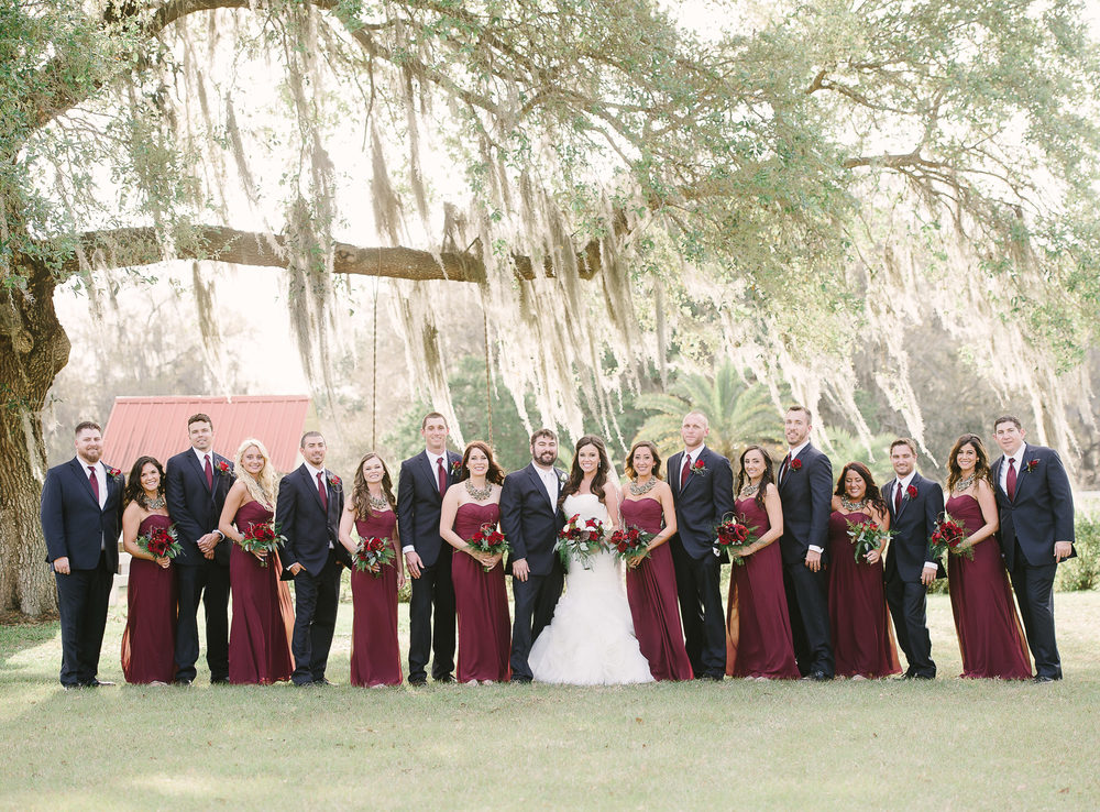 Burgundy Bridal Party Farm Wedding