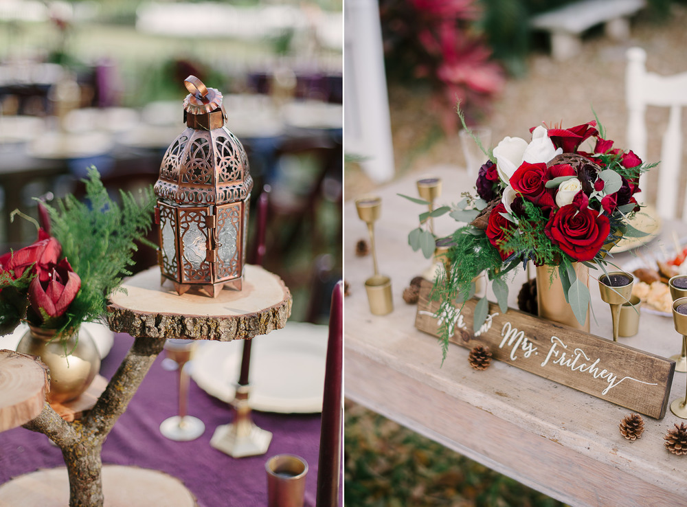 Burgundy and Gold Farm Wedding