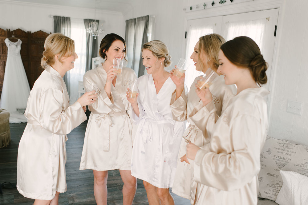 Champagne Bridesmaids Robes on Wedding Day