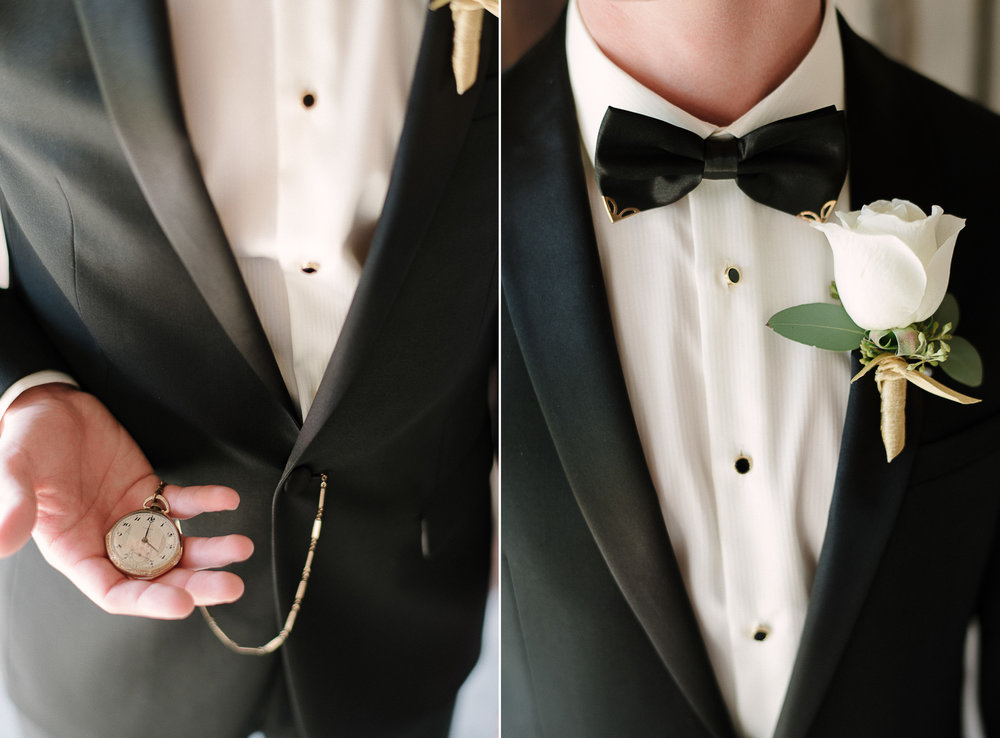 Custom Tux and Gold Studded Bow Tie