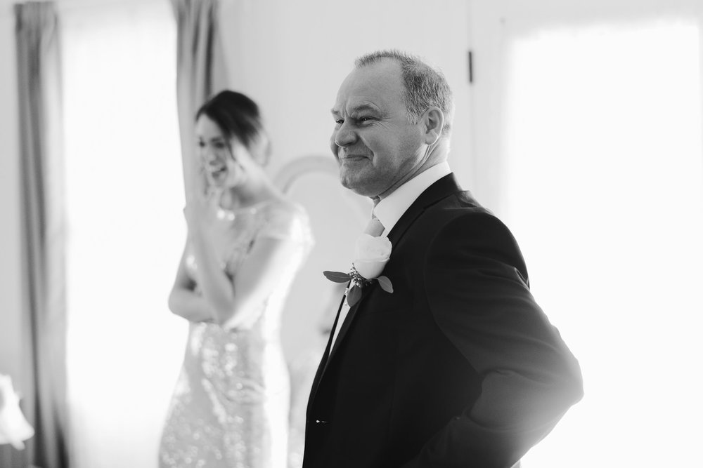 First Look with Father of the Bride on Wedding Day