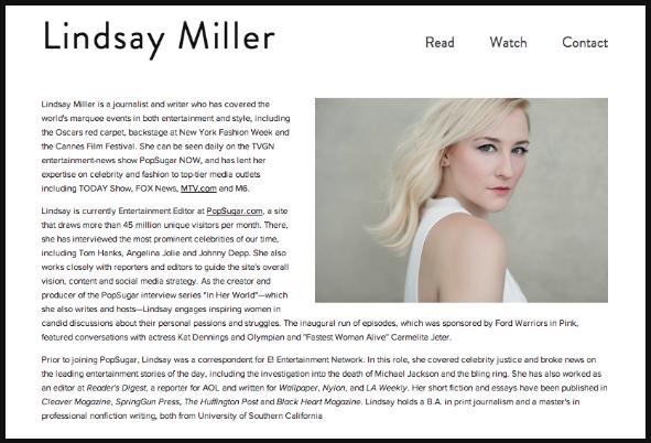 Designed for journalist and writer Lindsay Miller