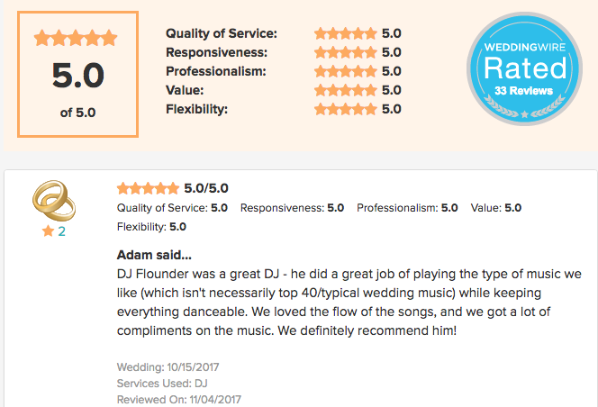 5 Star Weddingwire DJ review