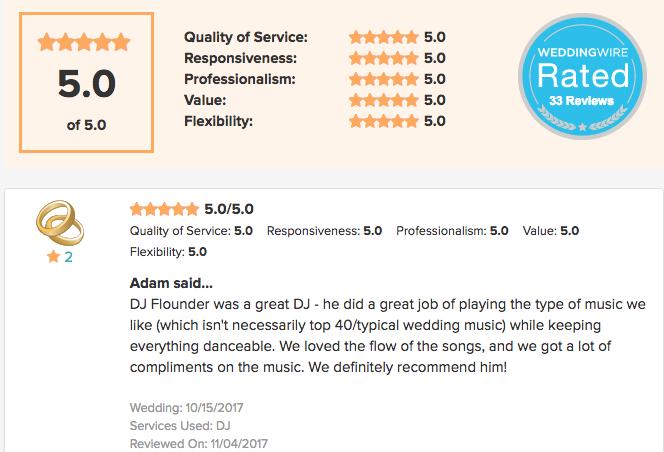 5 Star Weddingwire DJ review