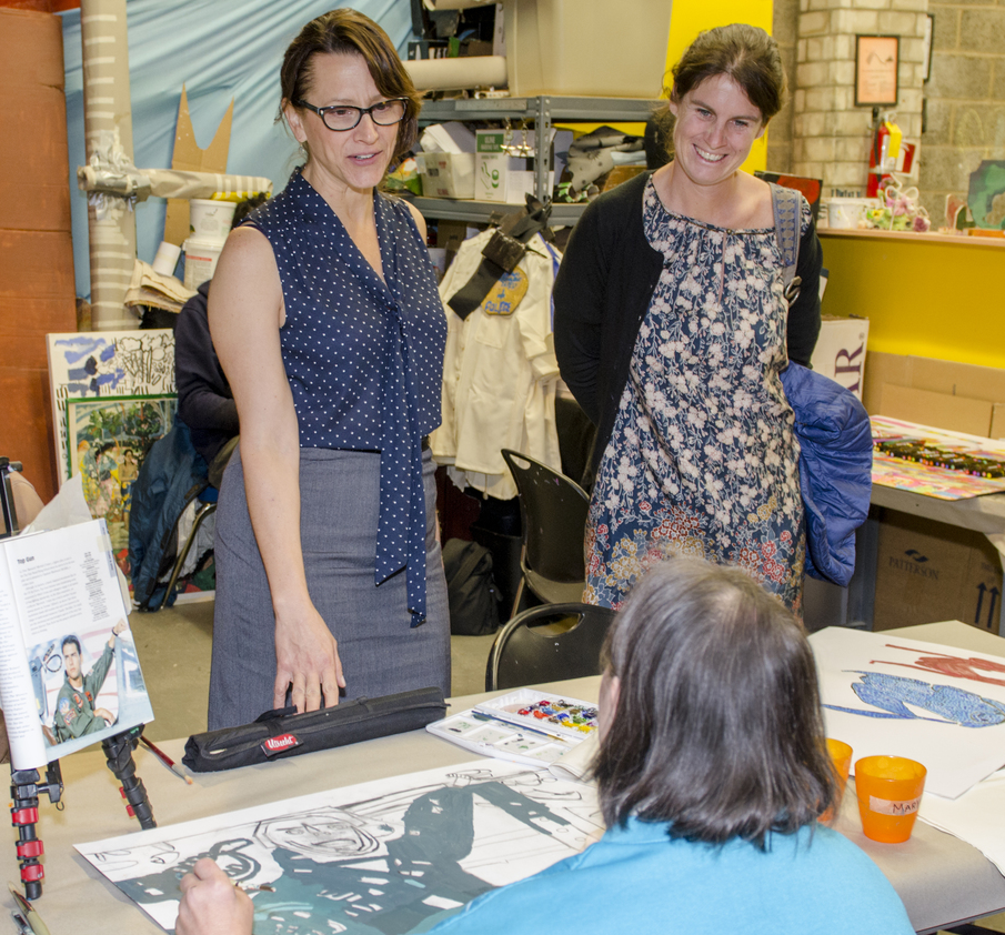 Alessia Antinori (right) toured the Center for Creative Works during her visit, meeting CCW Director Lori Bartol and artist Mary.