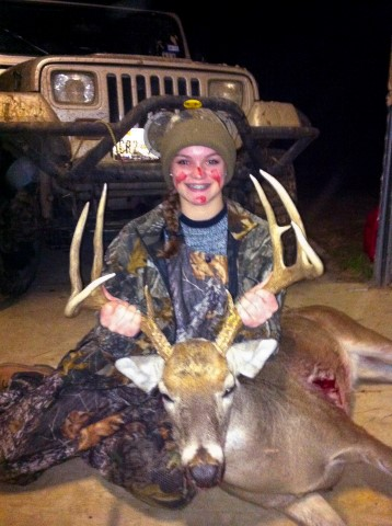 Deer and female hunter