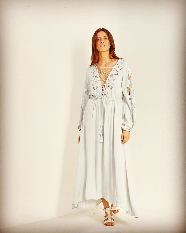 Natasha Lace Appliqué Maxi Dress in powder blue  worn with Natasha  Leather Gladiators  in Chalk  Available in stores Now @natashathelabel  @bisque__  stbartsstores  @janineedwardsboutique @thewanderlast  @covenshoppe  @carouselessentials  #beautiful #summer #silkdress#maxidress #timeless #byronbay Shot on location @bisque__  Byron Bay  @mrantong @nicholasxmorley @bohempia
