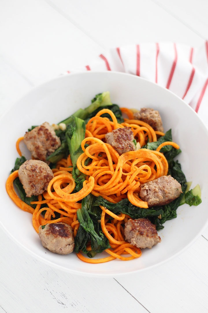 Garlic Escarole Sweet Potato Noodles with Sweet Italian Sausage