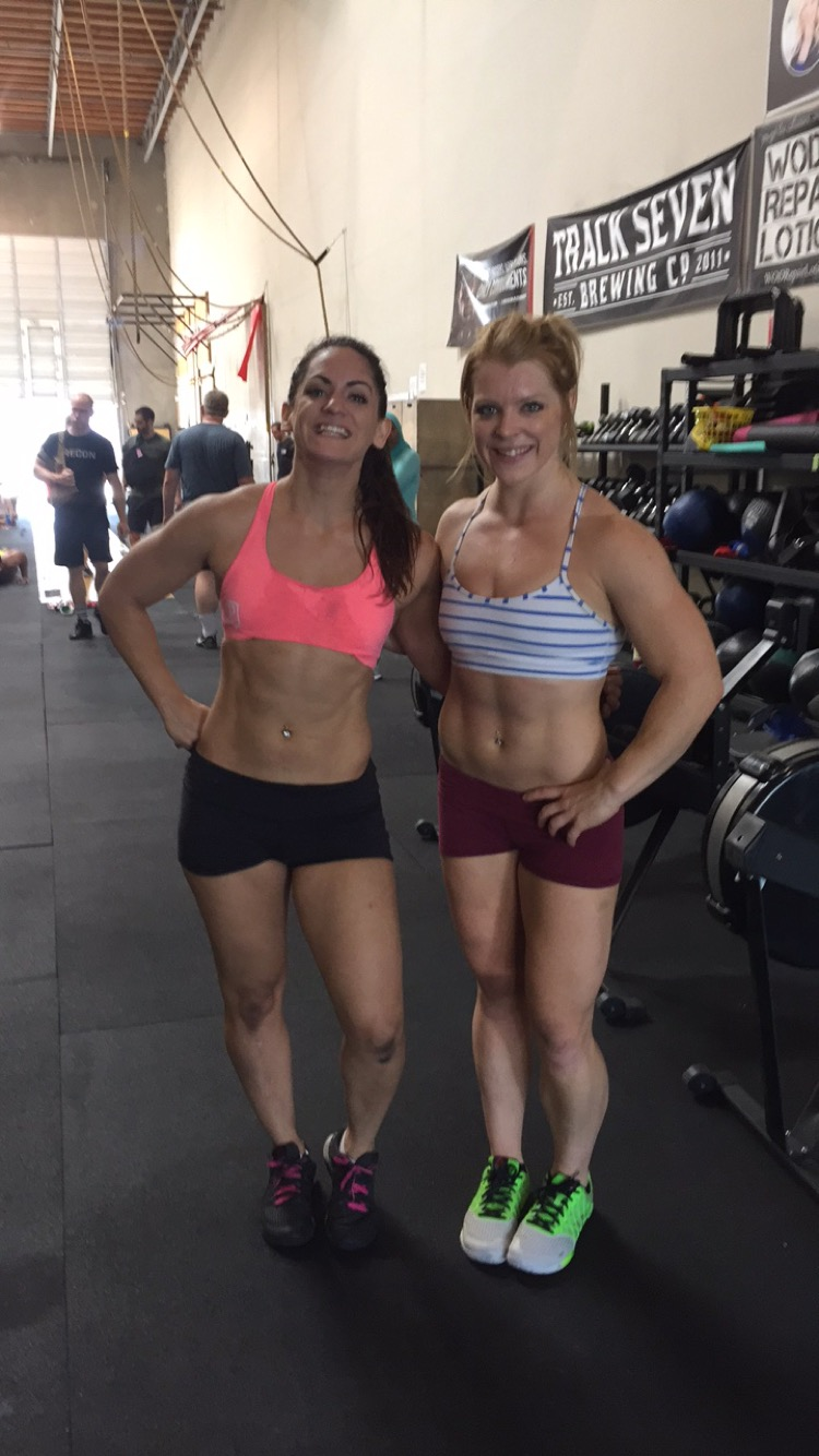 A sweaty, dirty mess after Amber and I did Murph on Memorial Day together at CrossFit Natomas. Also a very blurry photo.I think her husband took this one. In his defense he had just done Murph as well.
