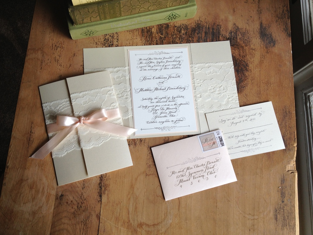 lace and calligraphy custom luxury wedding invitation