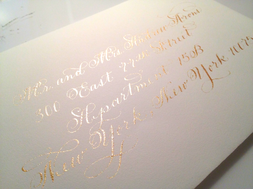 metallic gold calligraphy outer envelope addressing