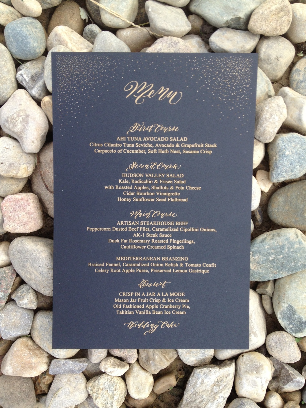 gold speck luxury calligraphy wedding menu black and gold