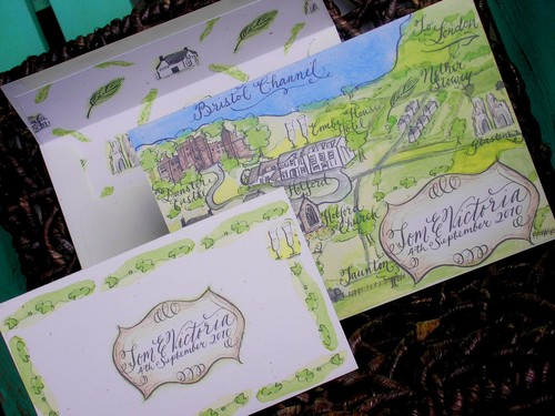 Map Wedding Invitation With Calligraphy And Watercolor Love No 50