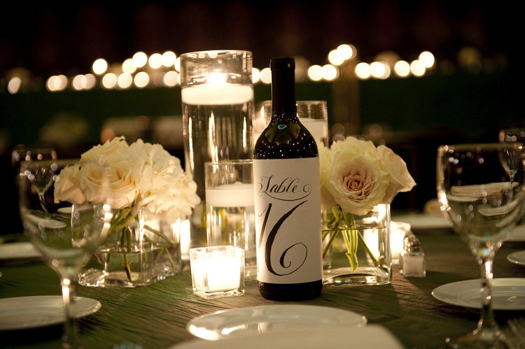 calligraphy table number labels for wine bottles weddings and