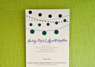 Modern calligraphy wedding program