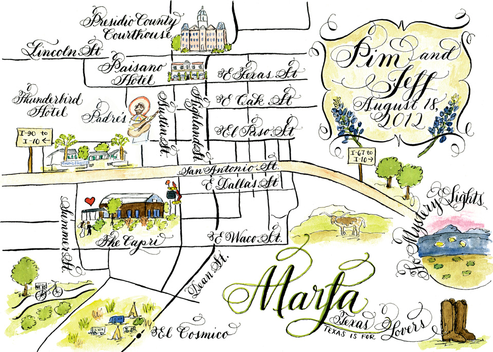 Marfa Texas wedding map