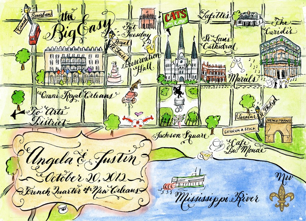 Angela and Justin New Orleans wedding map by Robyn Love