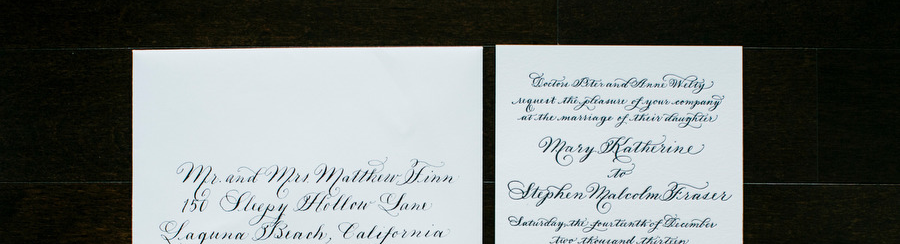 Calligraphy Wedding Invitations Luxury Cotton and Letterpress