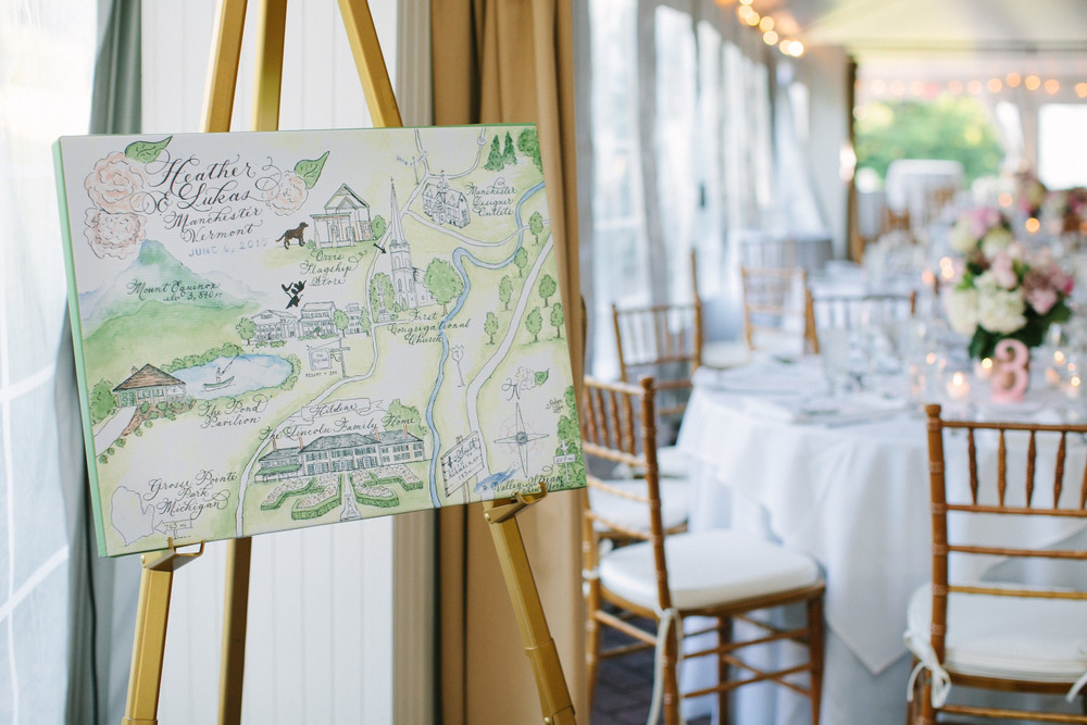 Watercolor Wedding Map at Spring vermont wedding
