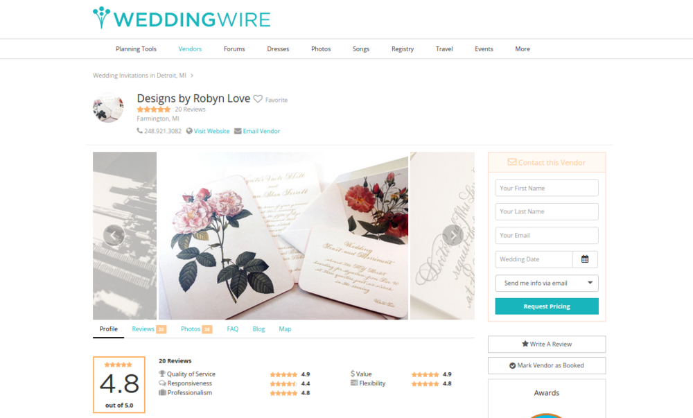 Designs by Robyn Love Calligraphy Wedding Wire Review