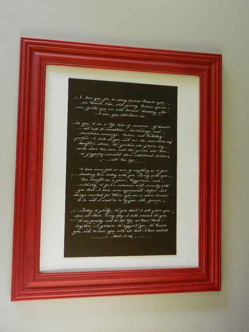 calligraphy poem or vows to frame up to one 11 x 17 page in hand calligraphy