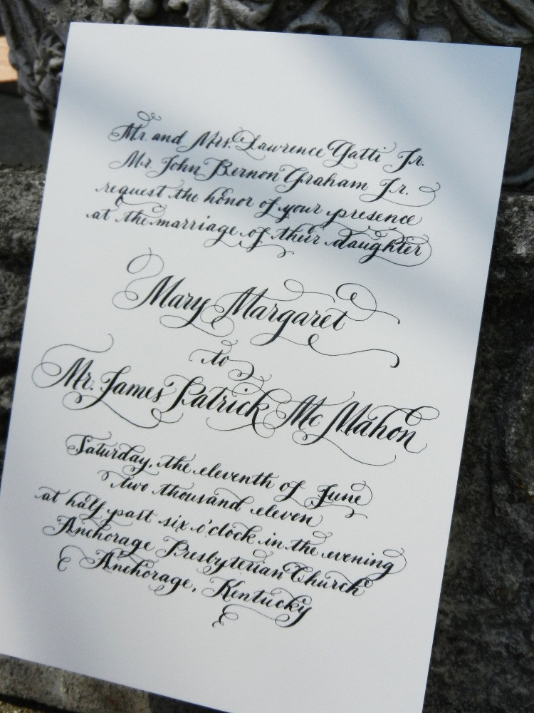 Thermography calligraphy wedding invitations