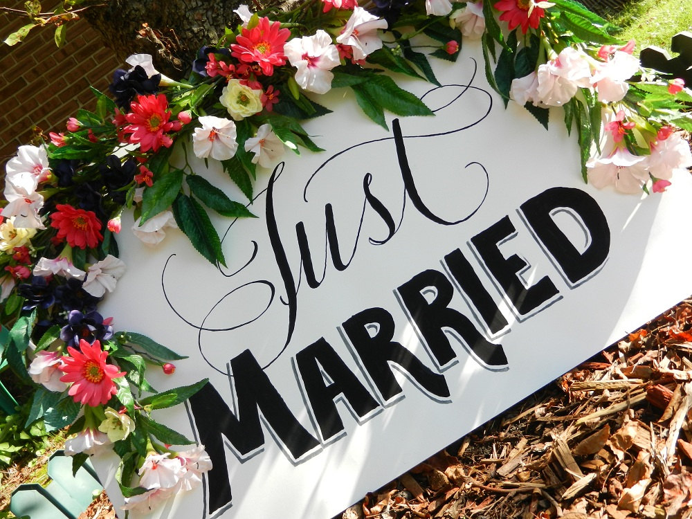 Calligraphy Just Married Sign with Flowers
