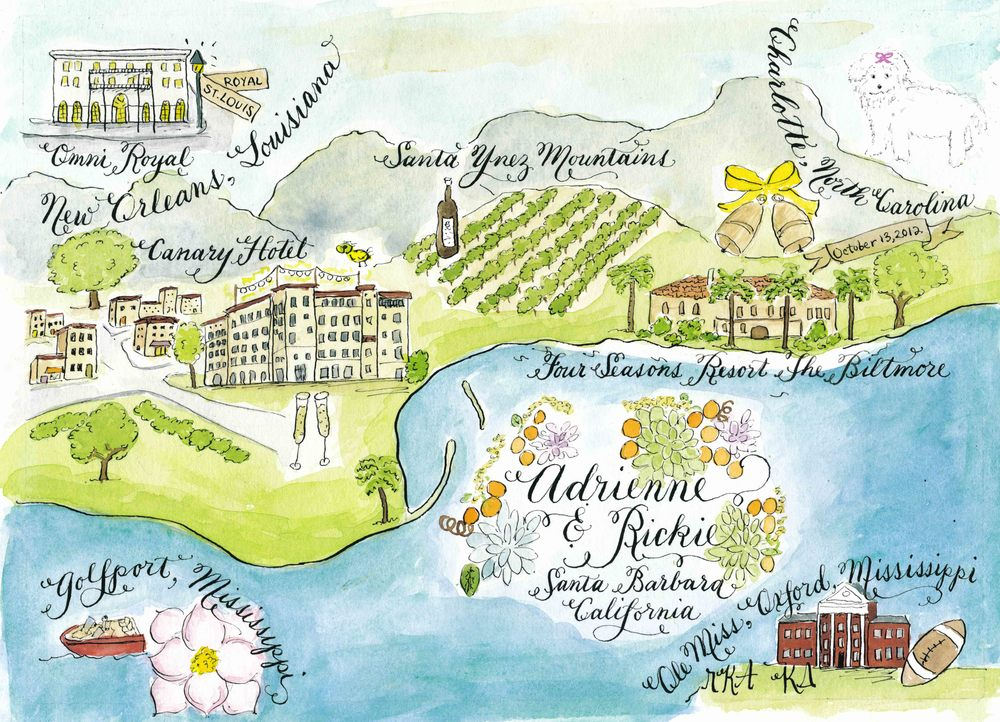 Adrienne Santa Barbara wedding map