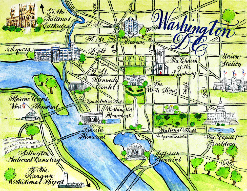 Washington D.C. wedding map by Robyn Love