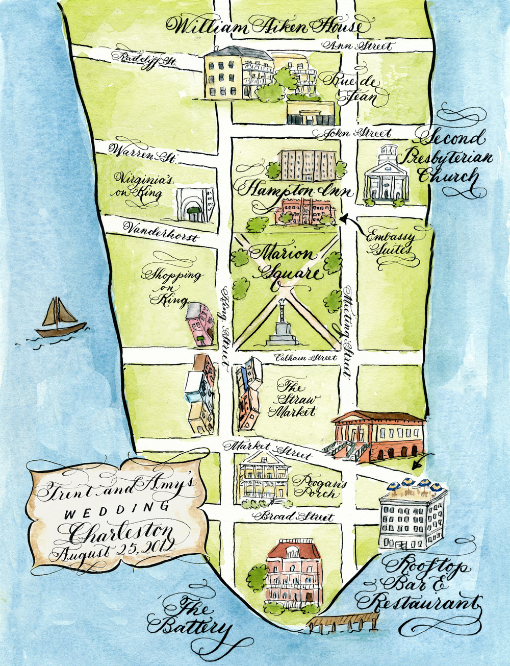 Charleston wedding map by Robyn Love
