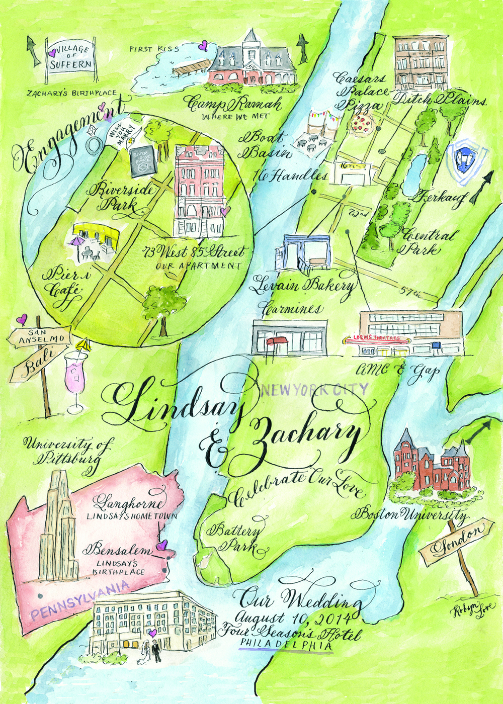 NYC watercolor calligraphy wedding map by Robyn Love
