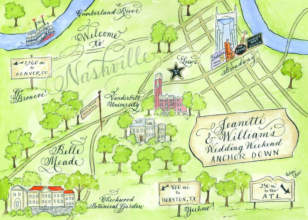 Nashville custom watercolor wedding map by robyn love