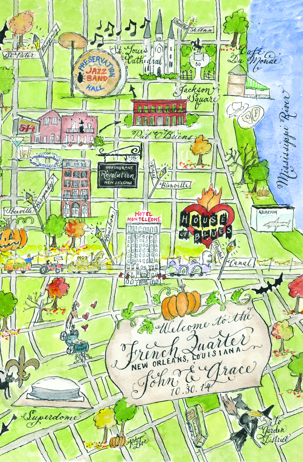 John and Grace New Orleans wedding map by Robyn Love