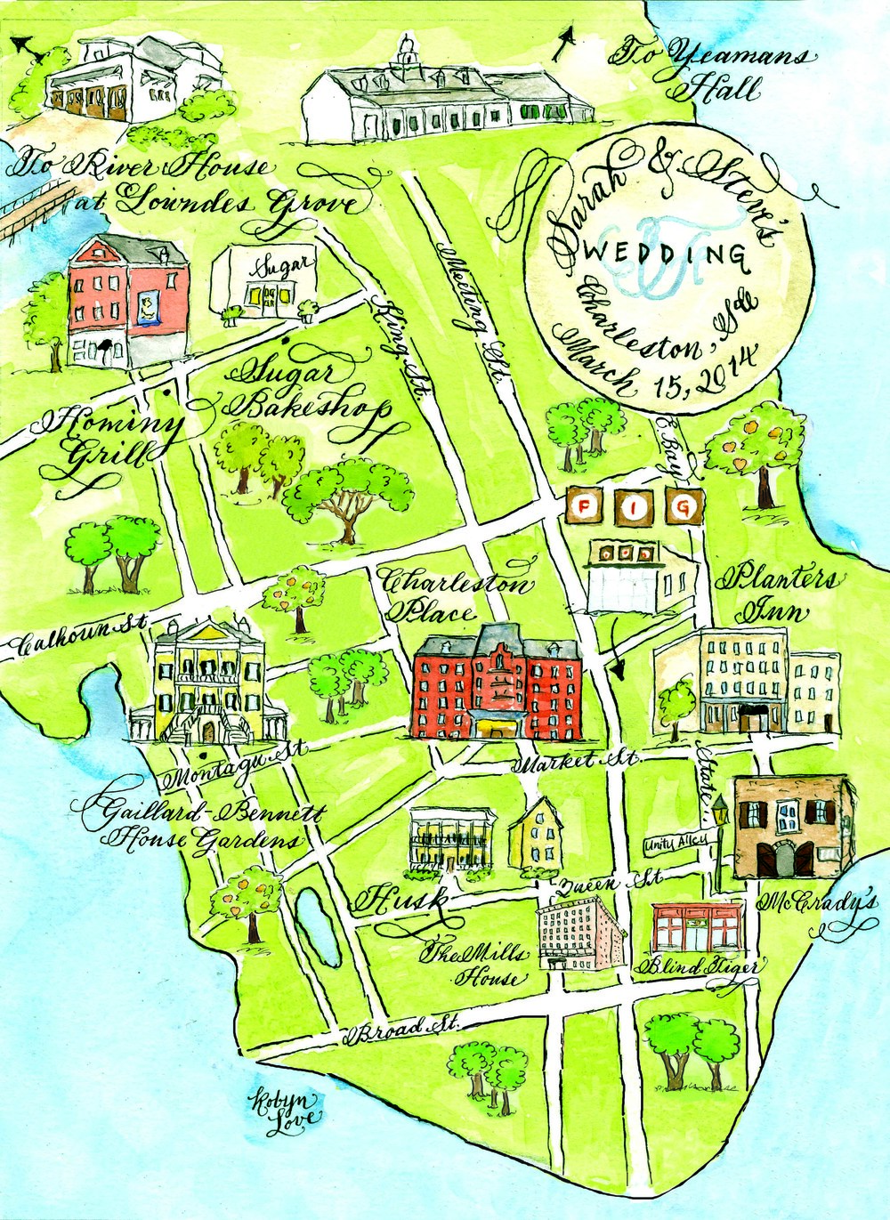 charleston watercolor wedding map