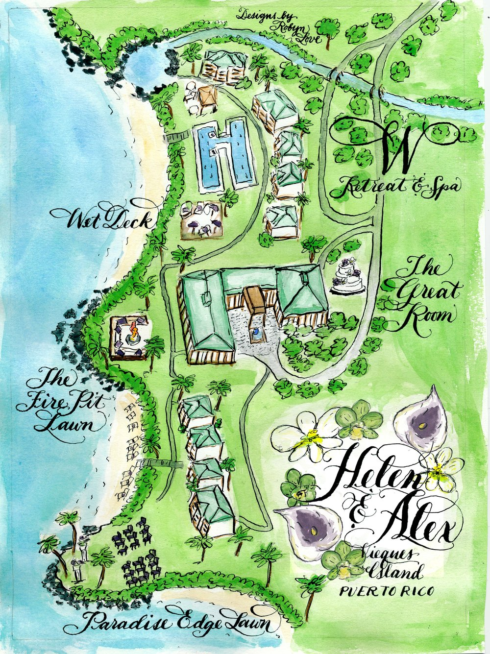 Helen R 3 Watercolor Wedding Map Puerto Rico Tropical Beach Purple Teal Green copy.jpg